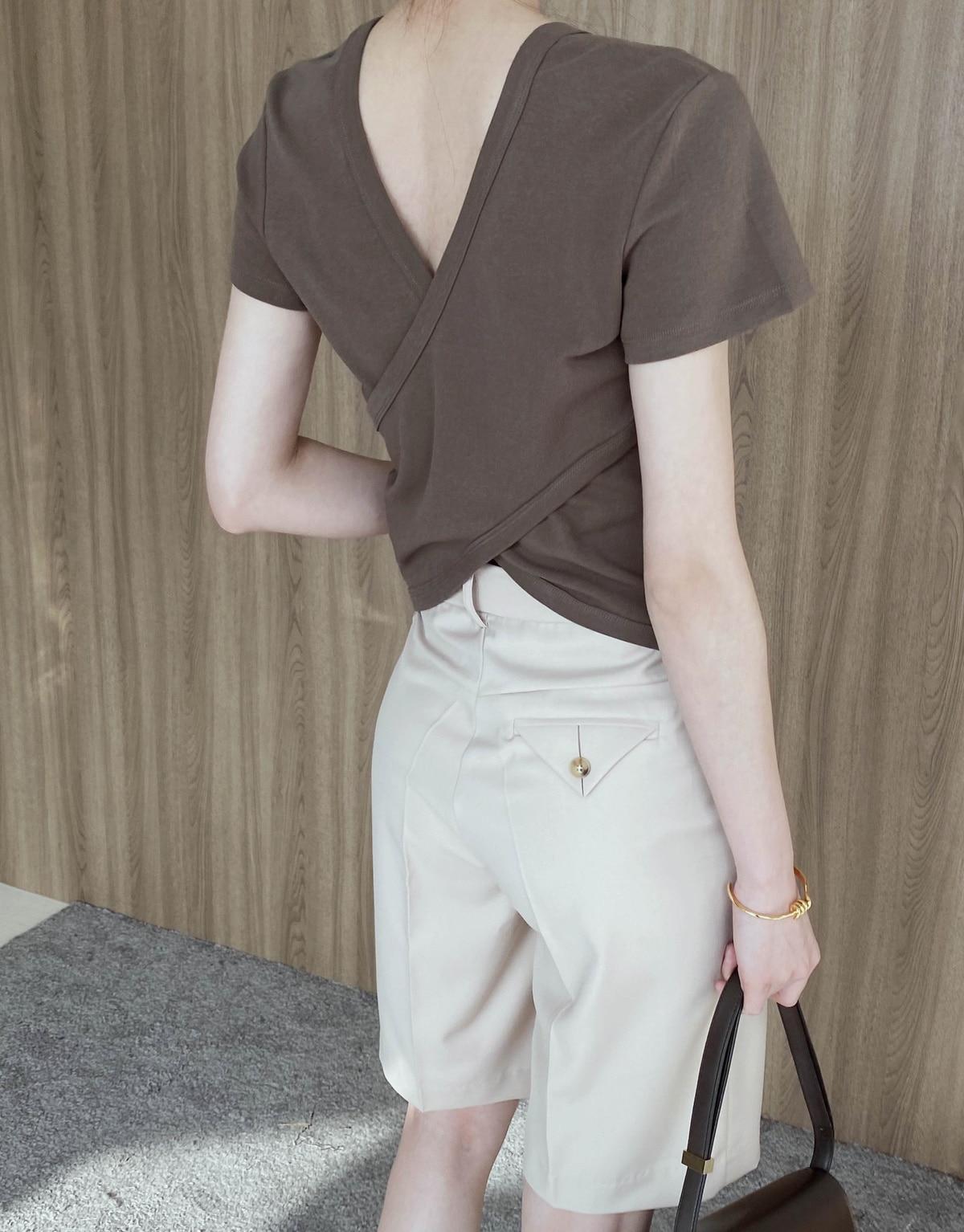 Cross Beauty Back Two-Way Short-Sleeved T-shirt Female 2021 Design Sense Hong Kong Style Simple All-