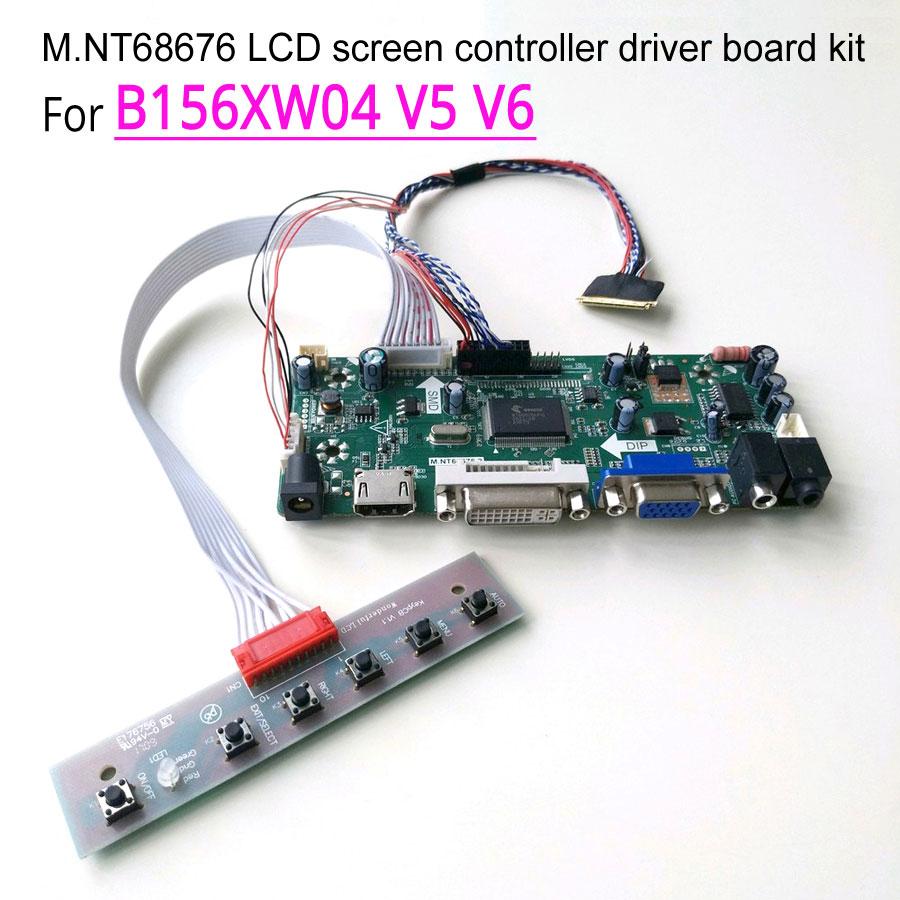 "For B156XW04 V5 V6 WLED 40Pin LVDS M.NT68676 display controller drive card 15.6"" HDMI DVI VGA 1366*768 LED notebook PC DIY kit"