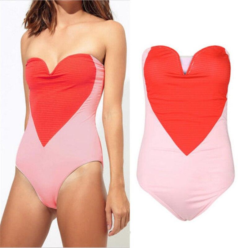 Traje de baño Sexy de una pieza para mujer, traje de baño rosa rojo amor corazón para mujer, traje de baño 2019, Bikini Push Up, traje de baño para mujer