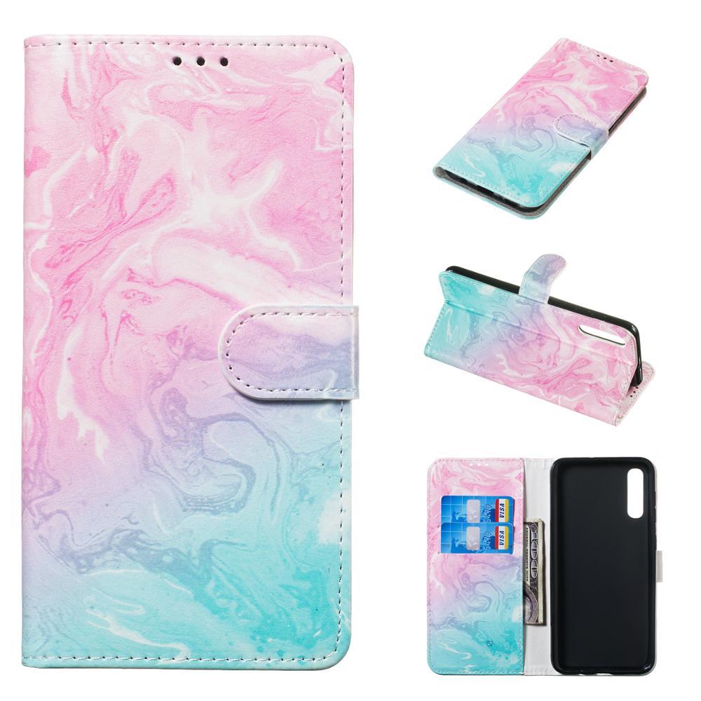 Flip Marble Case For Samsung Note 10 S10 E S9 S8 Plus S7 A10 A20 E A30 A40 A50 A60 A70 M10 M20 M30 A7 2018 J510 Card Slot Cover