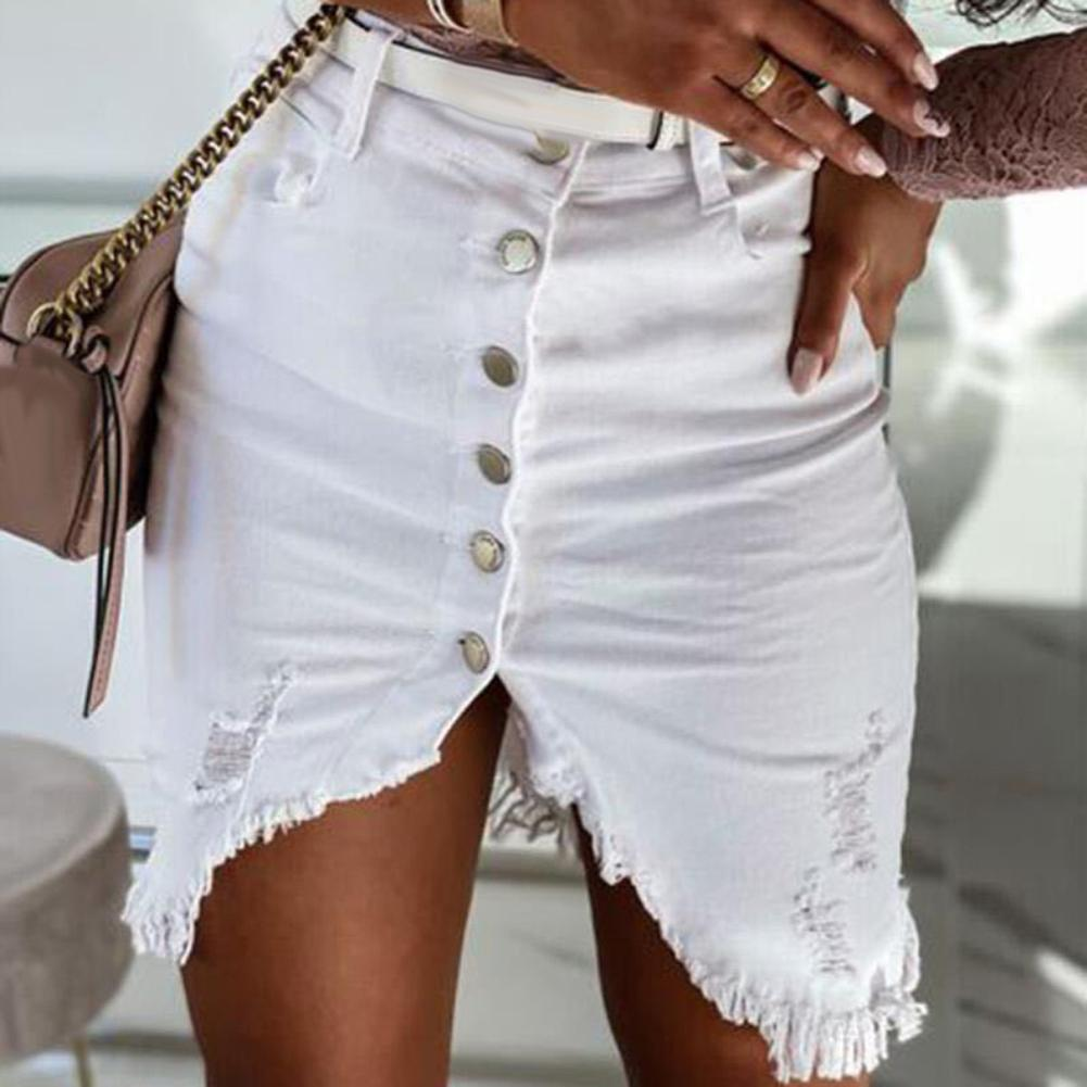 Faldas de talla grande para mujer, con abertura frontal, de una sola hilera de botones, con cintura alta, faldas de oficina, faldas ceñidas hasta la rodilla para mujer