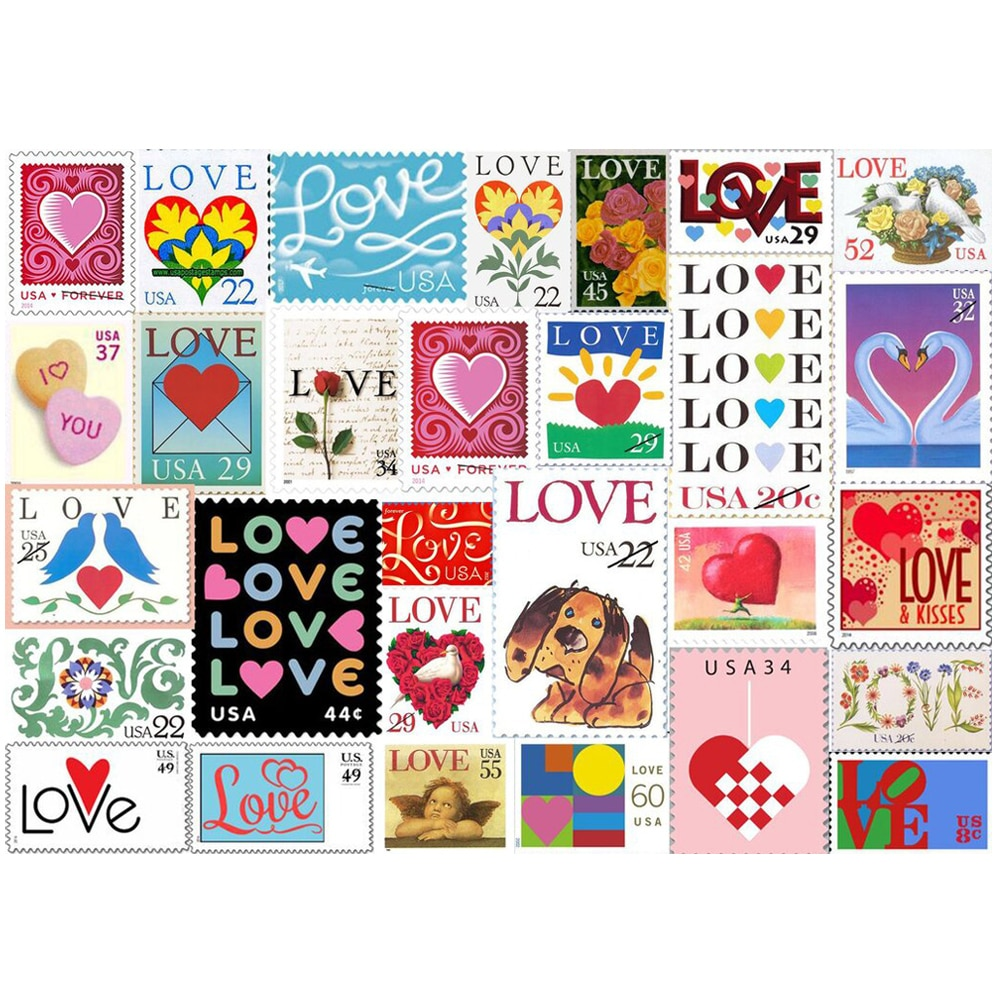 Love Stamps Jigsaw Puzzle 500/1000 Pieces Brain Exercise Puzzle Game for Couple Easy to Collect AC889