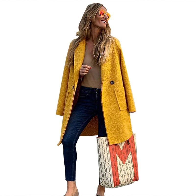 Nuevo 2019 otoño casuales de Invierno de abrigo de lana Simple clásico...