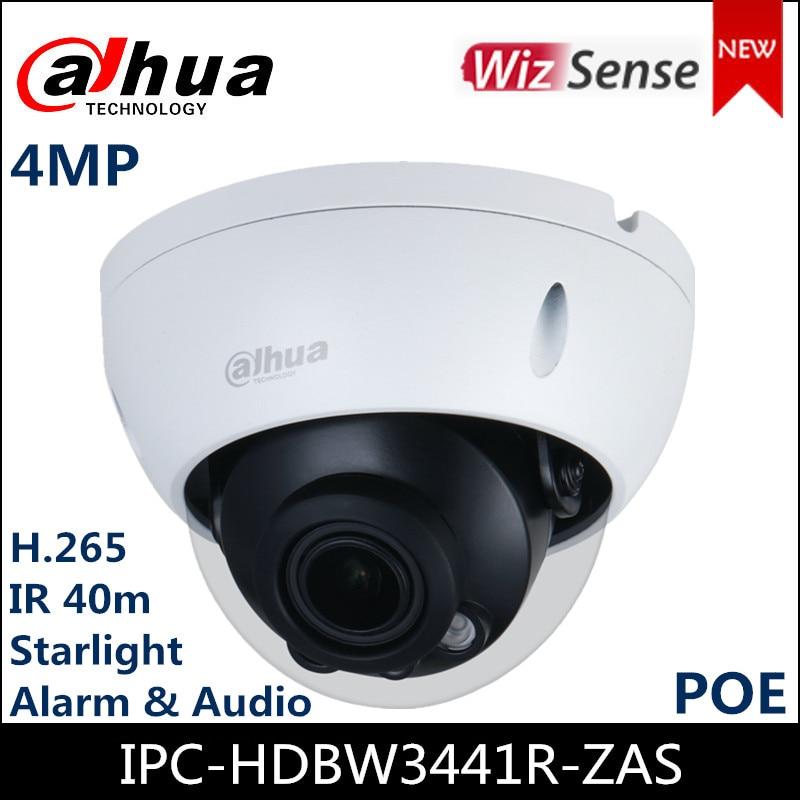 Cámara de red Dahau 4MP IPC-HDBW3441R-ZAS Lite AI IR vari-focal Domo IP Cámara 2,7mm ~ 13,5mm lente soporte de alarma de Audio