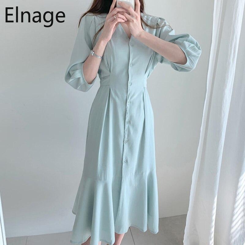 Temperamento coreano cuello en V plisado de alta cintura ajustado Ruffled sirena vestido de verano de manga corta sólido Oficina traje para dama Femme 5B037
