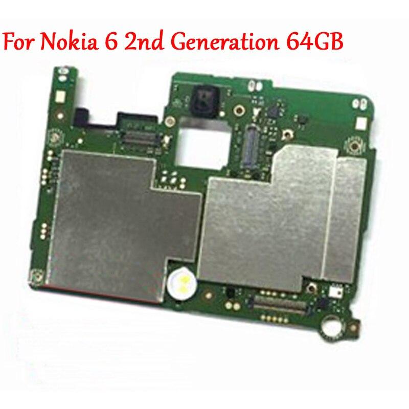 Testado trabalho completo original desbloquear móvel painel eletrônico placa-mãe circuitos cabo para nokia 6 2nd geração 2018 versão 64 gb
