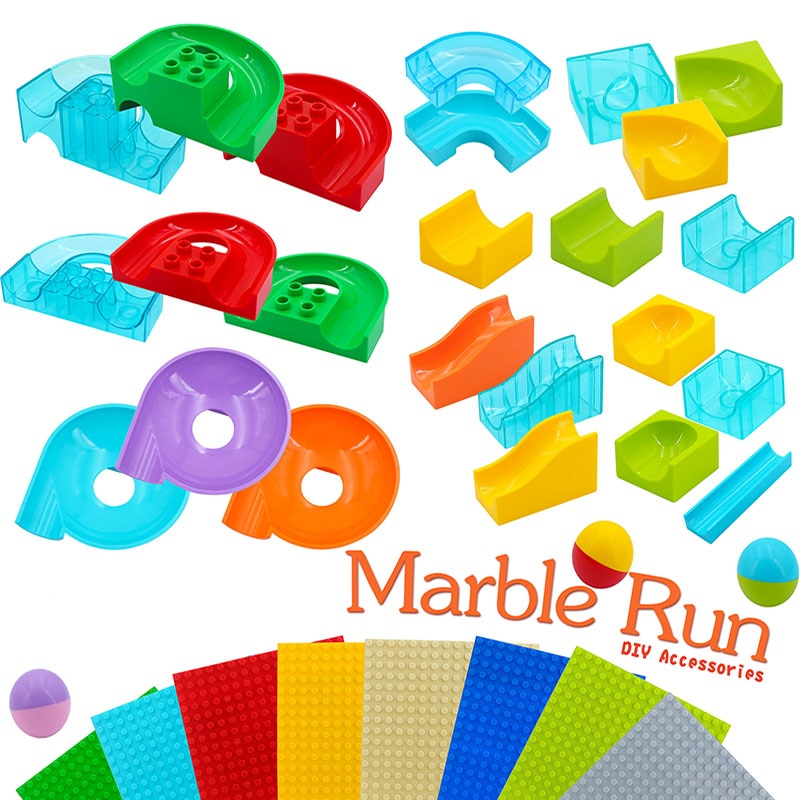 Diy Large Building Blocks Marble Race Run Maze Ball Track Accessories Compatible Toys for Children X