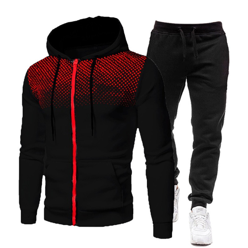 Brand Men Solid Color Casual Sets Autumn New Men's Hoodies + Pants Two-Piece Tracksuit Trendy Sportswear Set Male
