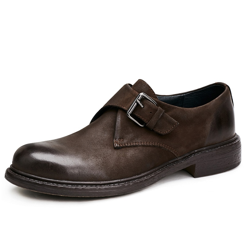 Round Head British Men Business Casual Shoes Handmade Soft Bottom Genuine Leather Breathable cowhide