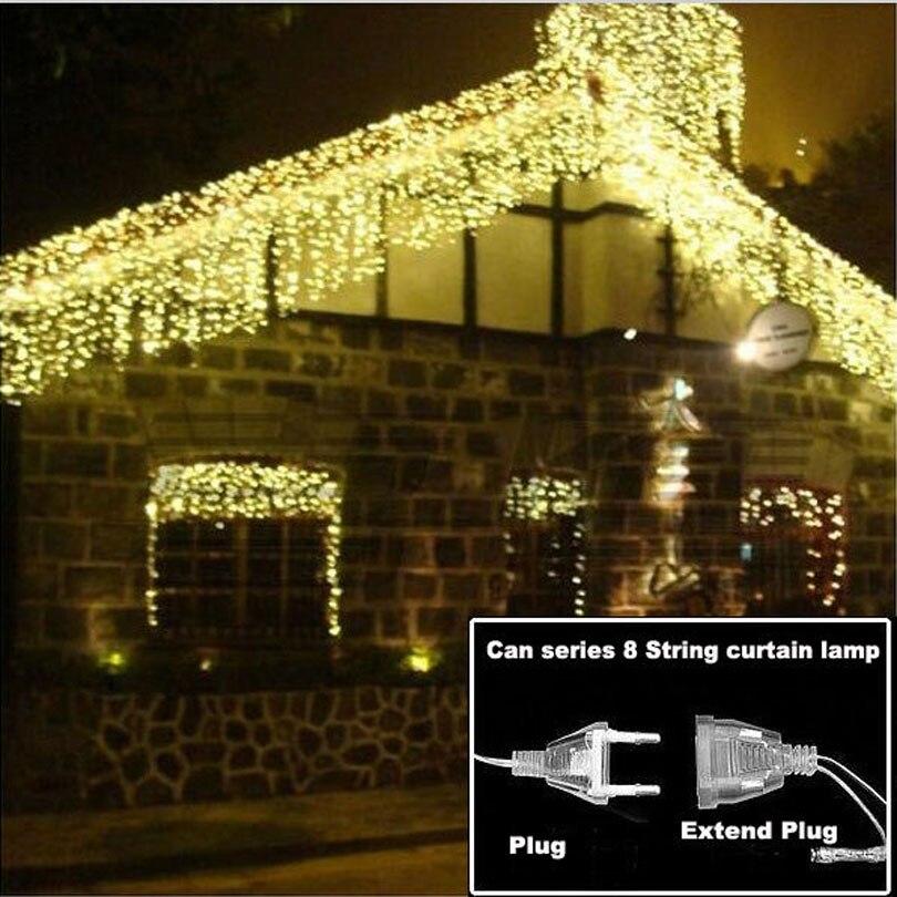 Luz LED navideña de 4,6 M, guirnalda para interior exterior, guirnalda de luces de hadas, cortina de carámbano para calle, 0,6 m-0,4, decoración para el jardín, hogar, 110-220V
