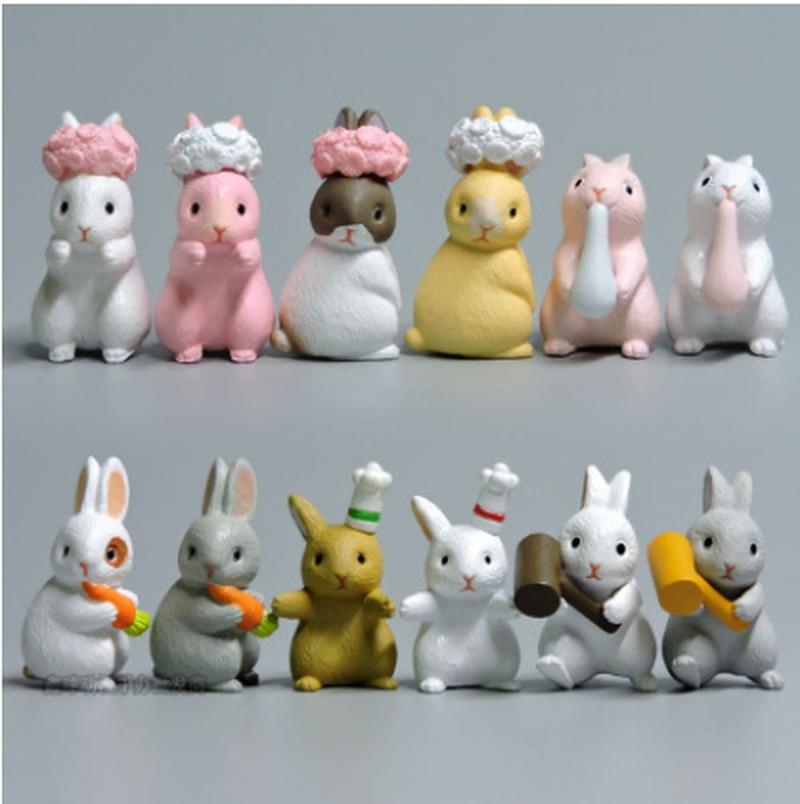 Micro Rabbit Miniatures Mini Crafts PVC Model Figure Ornament for Home Garden Decoration Home Decor Random Color