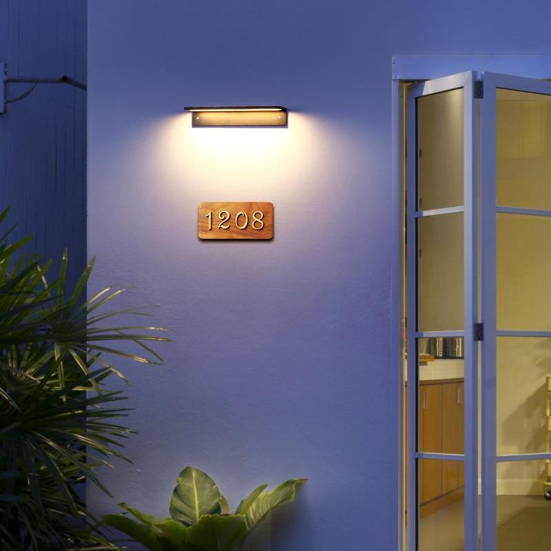 LED Outdoor Wall Light Modern black exterior wall door number light courtyard  door front porch IP65 waterproof wall lamp enlarge
