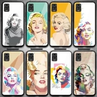 hand painted marilyn monroe phone case for redmi 4x 5 5plus 6 6a note 4 5 6 6pro 7 xiaomi 6 8se mix2s note 3 tempered glass