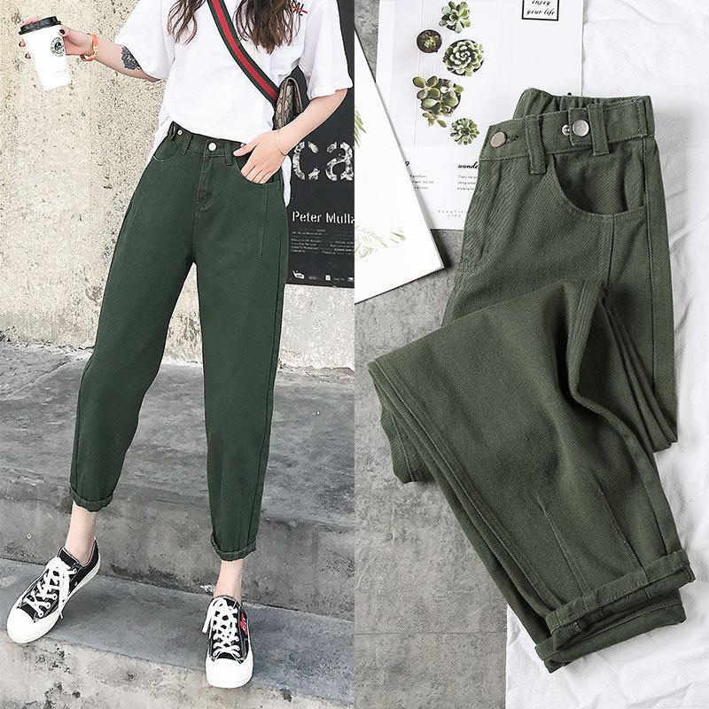 2020 nova mulher jeans calças harém feminino plus size solto namorado estilo femme mãe jeans comprimento do tornozelo branco vermelho verde