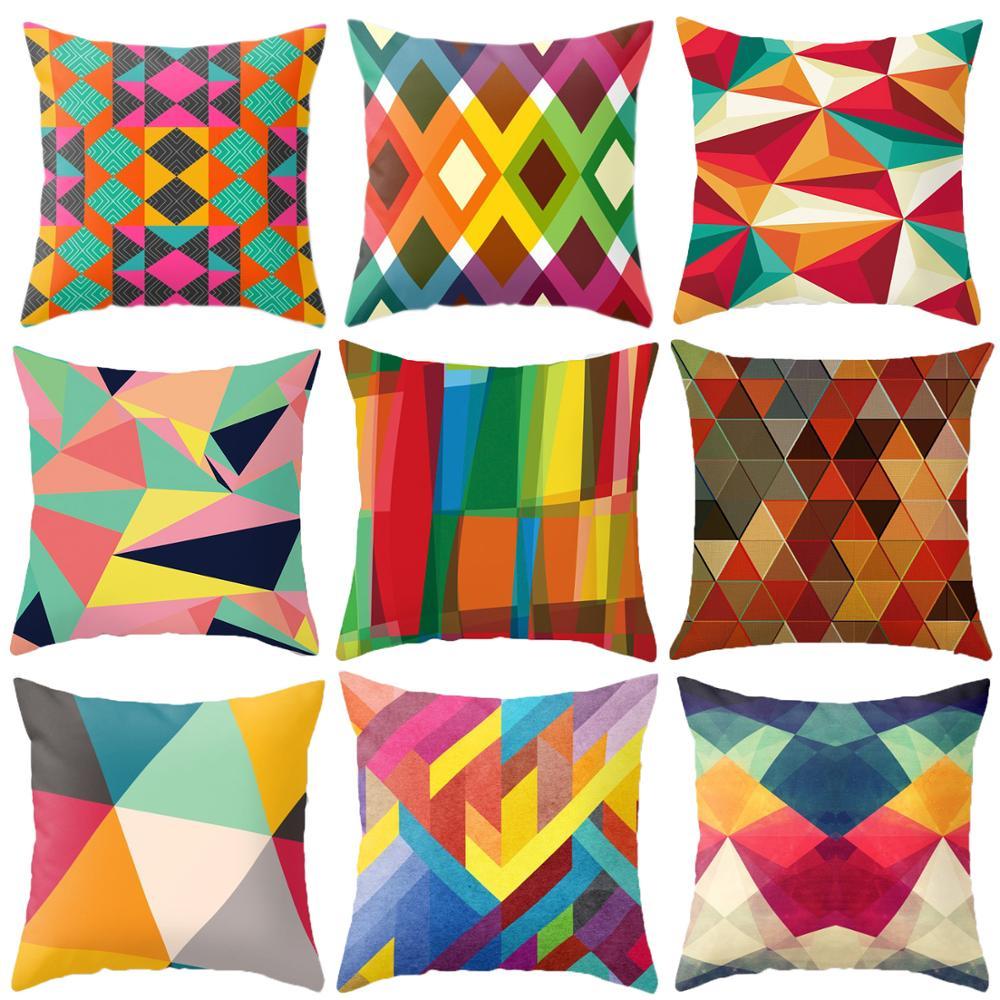 Funda de almohada Northern Europe Magic geometría de colores Color abstracto abrazo sofá Oficina cojín coche almohada de poliéster abrazo funda de almohada