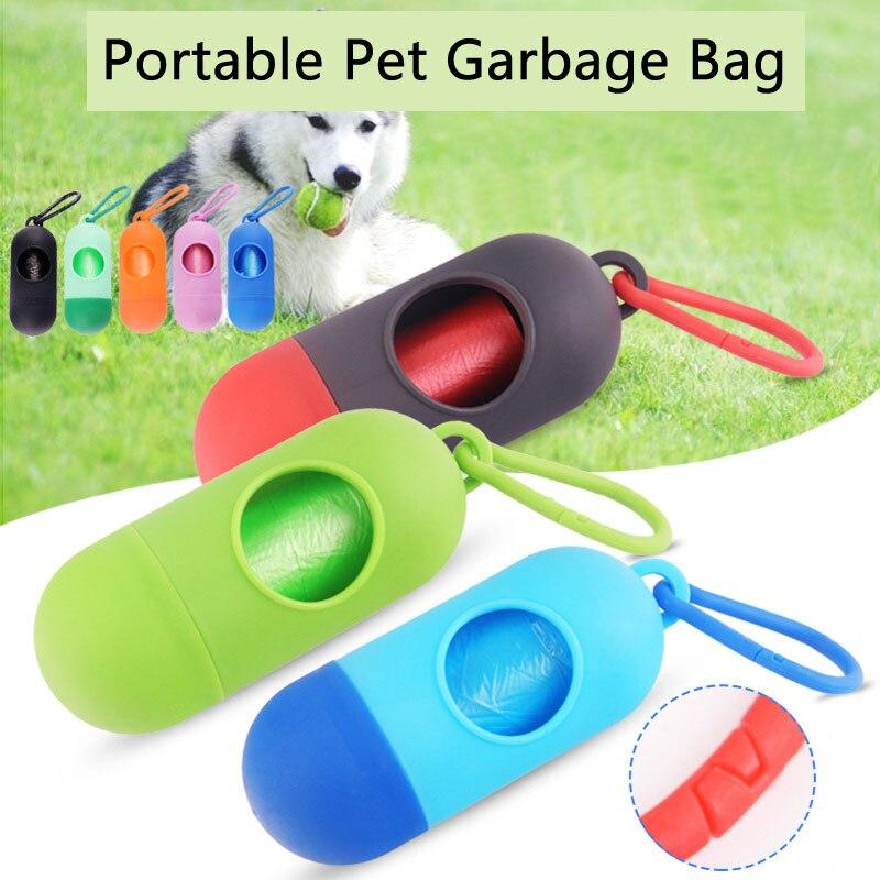 Perro basura bolsa de caja de píldora forma cachorro dispensador de agua para gato basura Bolsa para popó estiércol organizador de accesorios de mascota perro productos