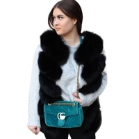 knitted vest fur gilet real fox fashion furry 2020 fall winter clothes plus size fuzzy warm sleeveless long black fur vest