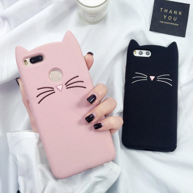 3D Cartoon TPU Case For Xiaomi 8 SE 6 5 5S Glitter Beard Cat Lovely Ears Cover For Redmi Note 7 4 3 Pro 4X 6 Pro 6A 5A 5 4A Case