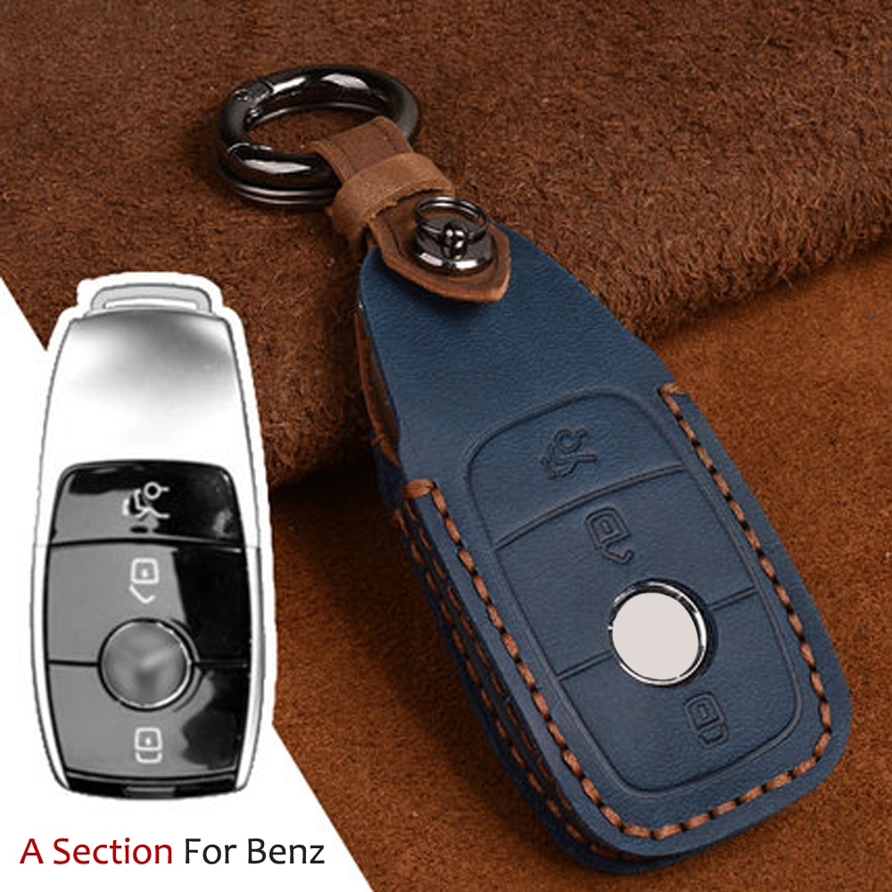 Llavero remoto, juego de llaves de coche, funda para Mercedes Benz 2017 E Class W213 2018 C Class C180 C260 C300, cuero de alta calidad