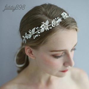 Luxury Rhinestone Flower and Leaf Wedding Bride Headband Girls Prom Bridal Wedding Hair Accessories Women Headwear
