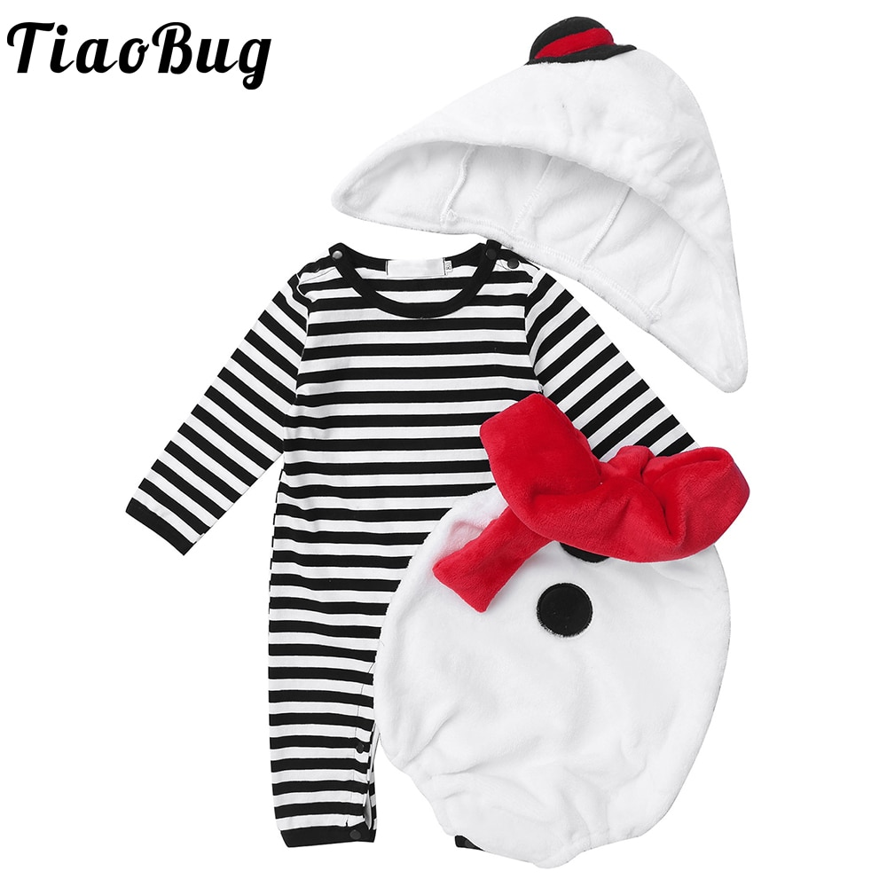 3Pcs Baby Girls and Boys Christmas Snowman Cosplay Outfits Newborn Long Sleeve Jumpsuit Romper with