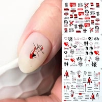 12 types russian letter nail water decals sexy girl black wraps manicure decoration tattoo slider black friday hot mybn1489