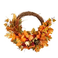 maple leaf wreath berry pumpkin simulation door hanger thanksgiving door decor hanging pendant artificial wreath opportune