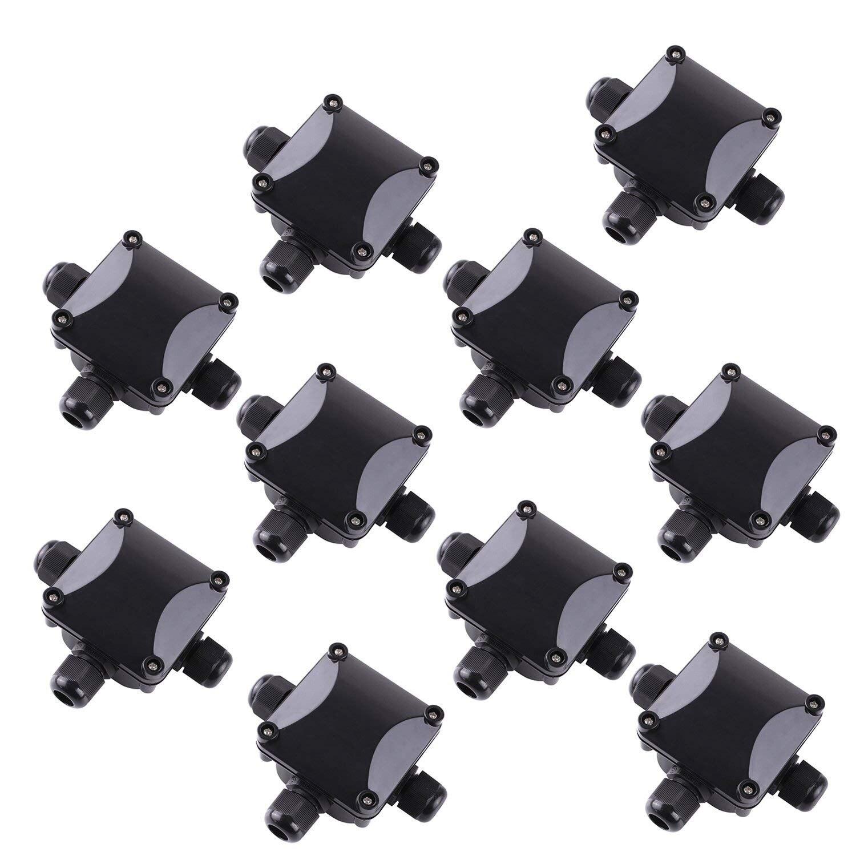 صندوق وصلات 3 اتجاهات ، وصلات IP 68 مقاومة للماء للإضاءة الخارجية صندوق وصلات خارجية حزمة من 10 أسود