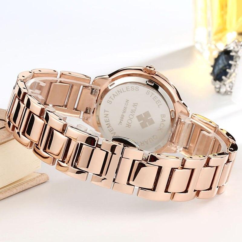 2021 Women Watch WWOOR Fashion Casual Dress Rose Gold Quartz Watch Luxury Diamond Waterproof Ladies Wrist Watch Gift Reloj Mujer enlarge