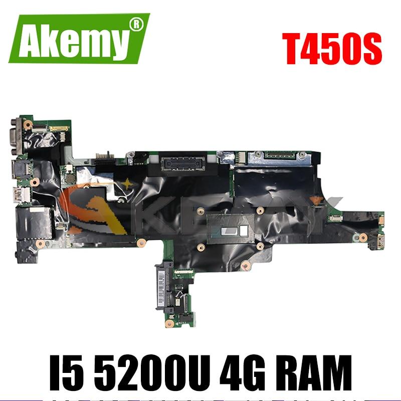 Akemy FRU 00HT736 00HT737 00HT738 لينوفو ثينك باد T450S اللوحة الأم الكمبيوتر المحمول ايمt1 NM-A301 وحدة المعالجة المركزية I5 5200U 4G RAM العمل