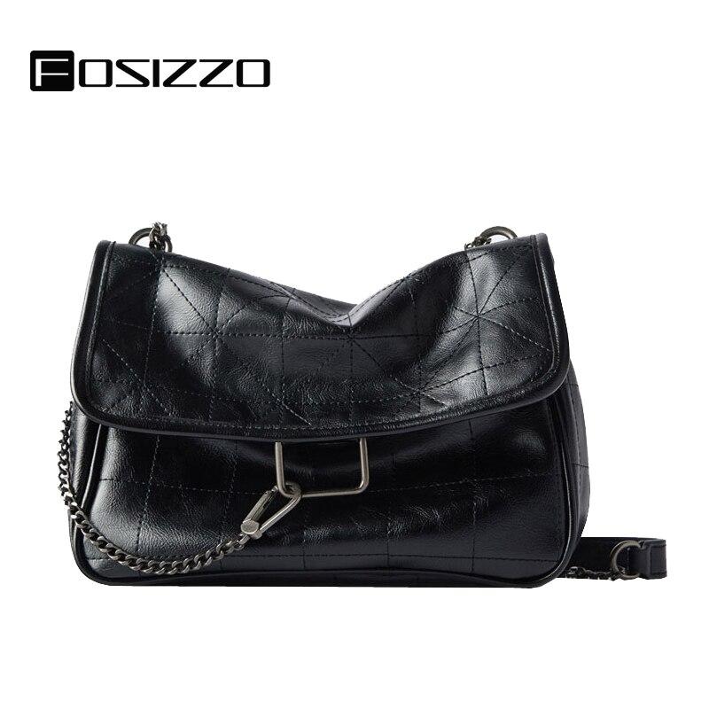 FOSIZZO Rock Handbag PU Messenger Bags Solid Soft Trend 2020 Women Fashion Bags Vintage Handbag Crossbody Bag Za Bag FS5081