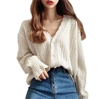 fashion women cardigans sweater new autumn v neck elegant knitted long sleeve hollow out sexy tops pull femme casual coat 2021