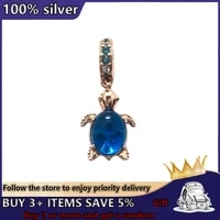 new rose gold turtle pendant beads suitable for charm pandora 925 original bracelet diy womens jewelry gift