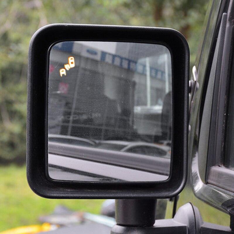 مرآة الرؤية الخلفية المضادة للمطر الحرة الضباب مؤشر LED وظيفة نظام إنذار الرادار العمياء بقعة استشعار Detctive ل رانجلر JK JL
