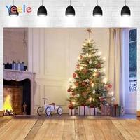 yeele merry christmas white fireplace tree balls gifts toys background photophone photography backdrop for decor customized size