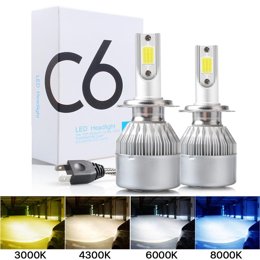 2 шт. C6 Светодиодные Автомобильные фары H7 led H4 лампы H8 H1 H3 H11 HB3 9005 HB4 9006 9007 автомобильные лампы Противотуманные фары 3000K 6000K оптовая продажа