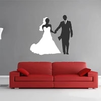 tatuajes de pared de novia novio boda vestido boda tienda ventana extra%c3%adble adhesivo para mural de pared decoraci%c3%b3n wl692