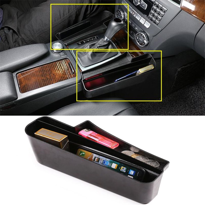 Multifunction Car Seat Slit Gap Pocket Put Coins Phone etc Storage Glove Box For Mercedes Benz C class W204 accessories 2008-14
