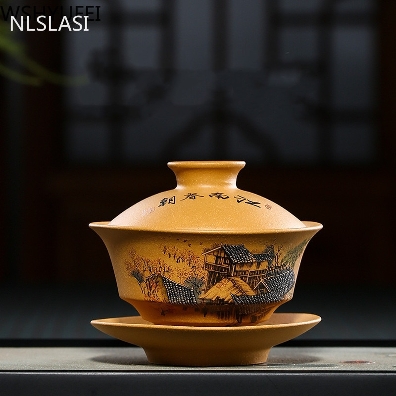 Чайный набор NLSLASI Yixing, чайный набор из фиолетовой глины Gaiwan zisha, китайская чайная посуда, чашка с крышкой, блюдце, чайная чашка для заваривания, индивидуальный подарок, 130 мл
