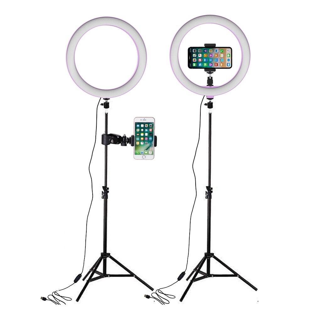 Luz de vídeo regulable LED Selfie anillo luz USB anillo lámpara de luz de fotografía con soporte de teléfono 160CM soporte de trípode para lámpara de maquillaje