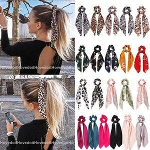 """Модный детский костюм леопардовой расцветки, с атласным бантом и длинной лентой, """"конский хвост"""", шарф, резинки для волос Scrunchies для женщин и девочек резинки для волос аксессуары для волос"""