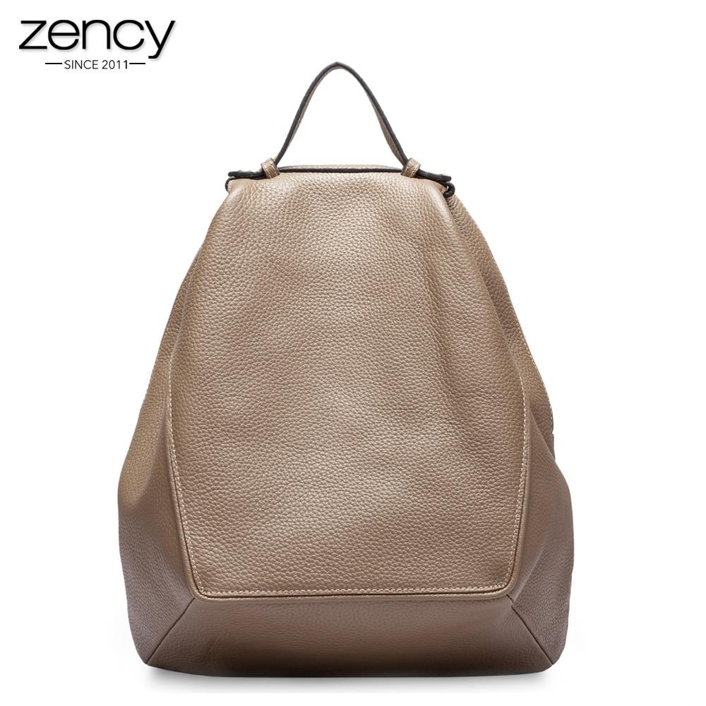 Zency dużej pojemności kobiet plecak 100% prawdziwej skóry torba podróżna tornister dla dziewcząt mody nieregularne Khaki
