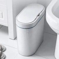 Smart Sensor Trash Can Electronic Automatic Household Bathroom Toilet Waterproof Narrow Seam Sensor Bin Smart Home-Trash Can