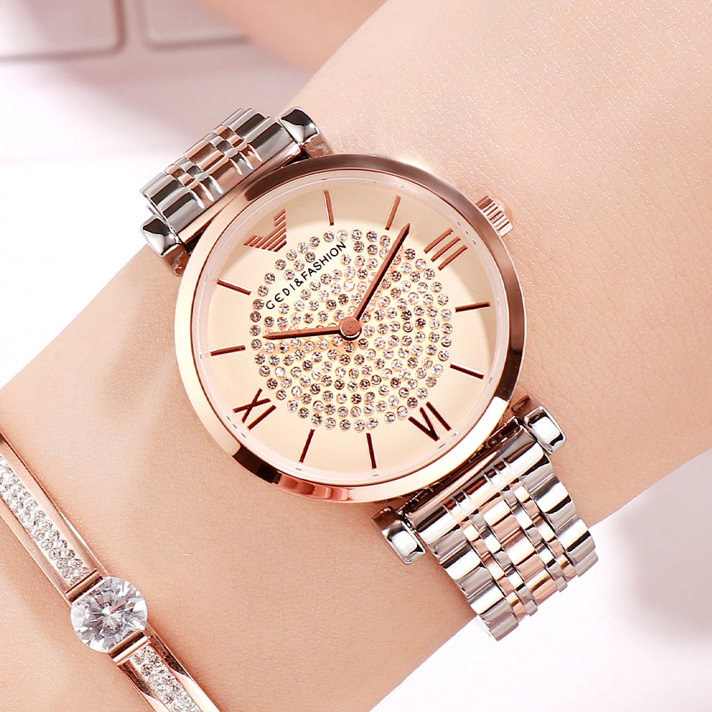 GEDI Women Dress Watch Luxury Crystal Watch Quartz Watches Ladies Luxury Women Wristwatch Stainless