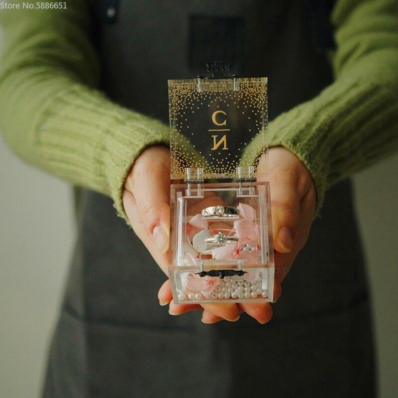 1 قطعة خاتم كريستال أكريليك صندوق زهرة اللؤلؤ مخصص المشاركة الزواج اقتراح الزفاف دليل العروس صديقة هدية