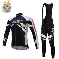 cycling jersey set pro team long sleeve clothes men winter cycling clothing thermal fleece ropa ciclismo hombre warm bib shirt