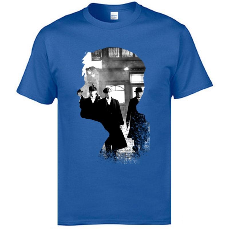 Camisetas de película Peaky Blinders TV gángster Guns War Profile 100% algodón cuello redondo descuento Europa Camiseta estilo Simple estampado Camisetas Hombre