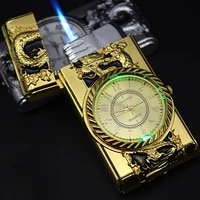luxurious gold watch jet lighter torch turbo gas lighter windproof cigar cigarette metal lighters led inflated gasoline butane
