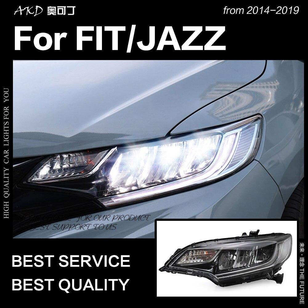 AKD Car Styling Head Lamp for Honda Fit Headlights 2014-2019 Jazz LED Headlight DRL Angel Eye Hid Bi Xenon Auto Accessories