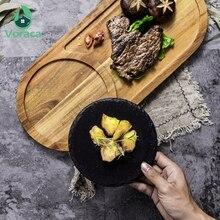 Giapponese Naturale Ardesia Cena Occidentale Solido Piatto di Legno Vassoio di Pizza Piatto di Sushi Famiglia Bistecca Piatti Che Serve Ristorante Vassoi